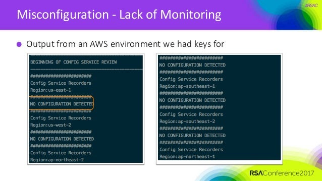 #RSAC Misconfiguration - Lack of Monitoring Output from an AWS environment we had keys for