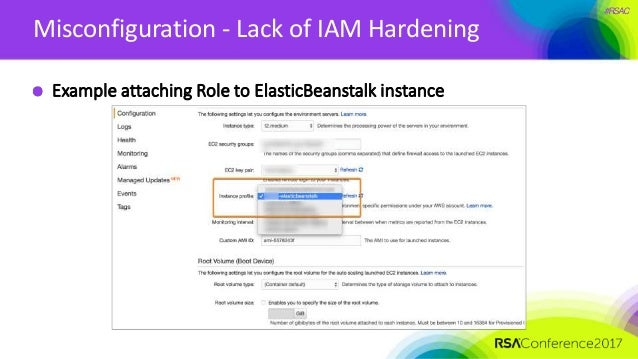 #RSAC Misconfiguration - Lack of IAM Hardening Example attaching Role to ElasticBeanstalk instance