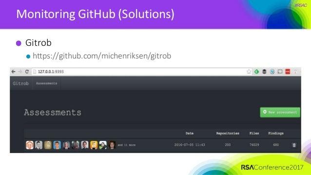 #RSAC Monitoring GitHub (Solutions) Gitrob https://github.com/michenriksen/gitrob