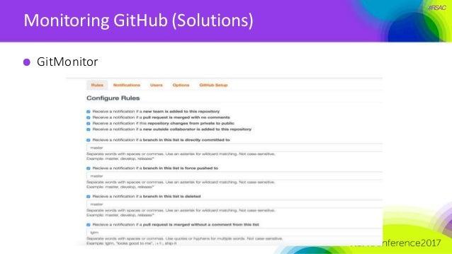 #RSAC Monitoring GitHub (Solutions) GitMonitor