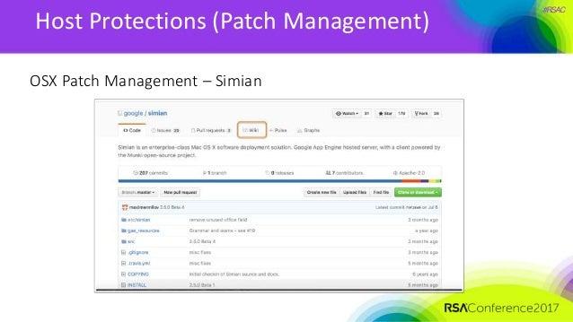 #RSAC Host Protections (Patch Management) OSX Patch Management – Simian
