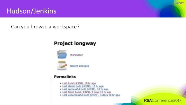 #RSAC Hudson/Jenkins Can you browse a workspace?
