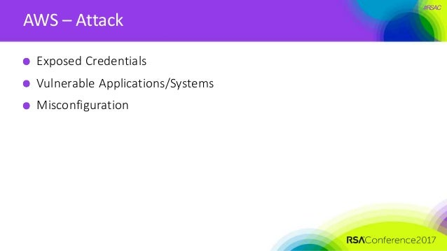 #RSAC AWS – Attack Exposed Credentials Vulnerable Applications/Systems Misconfiguration
