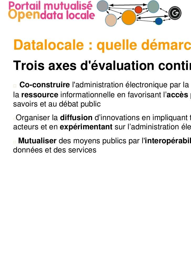 Datalocale : quelle démarche ?Trois axes dévaluation continue  Co-construire ladministration électronique par la circulati...