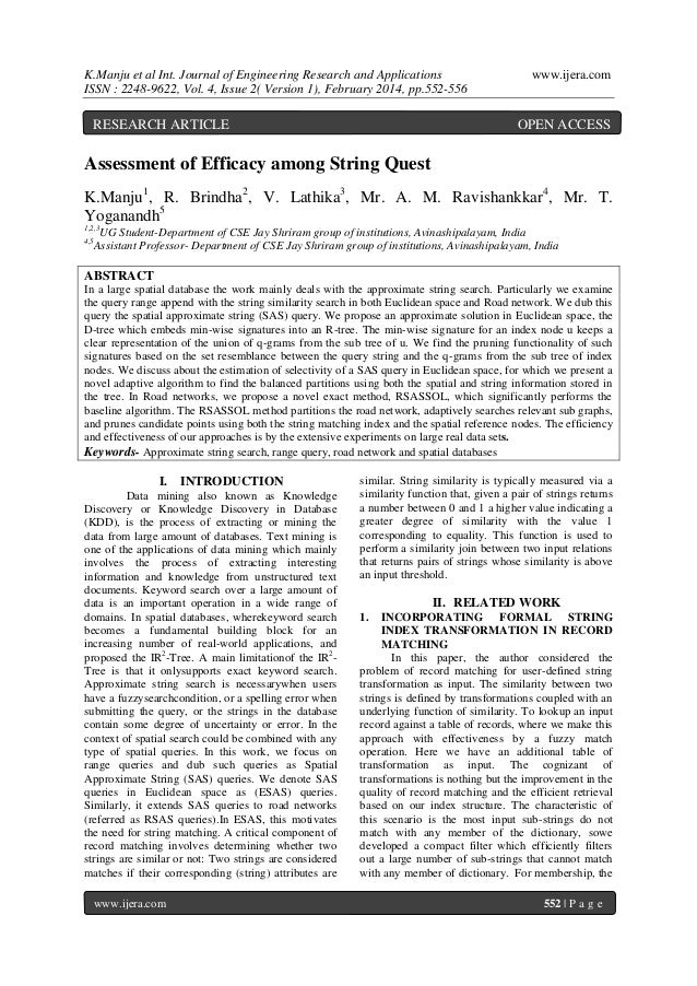 K.Manju et al Int. Journal of Engineering Research and Applications ISSN : 2248-9622, Vol. 4, Issue 2( Version 1), Februar...