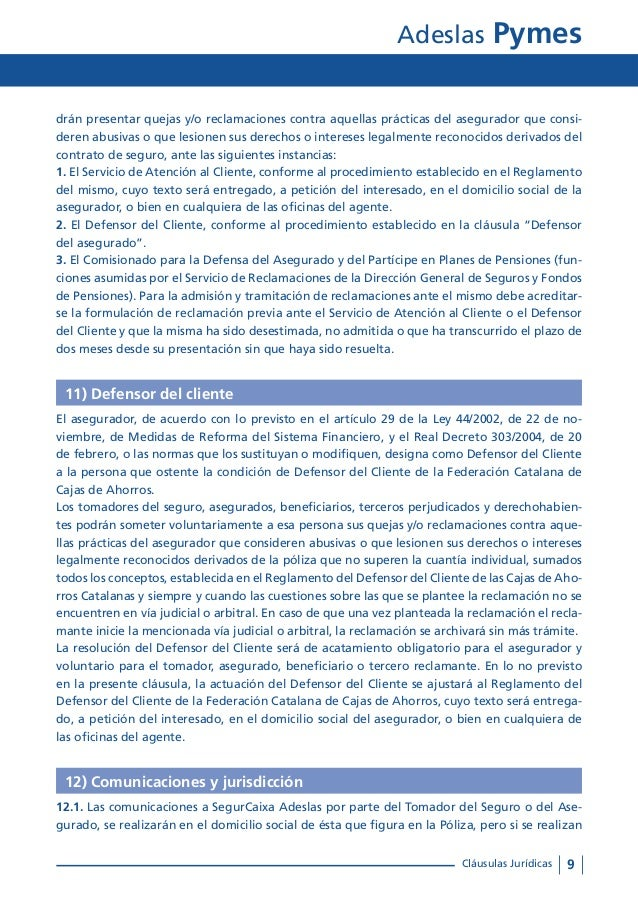 Condiciones generales adeslas pyme tu oficina local coslada for Oficinas de adeslas en barcelona