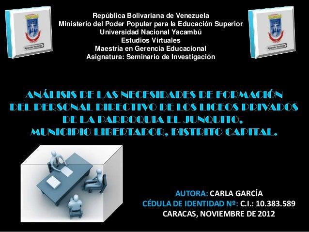República Bolivariana de VenezuelaMinisterio del Poder Popular para la Educación Superior             Universidad Nacional...
