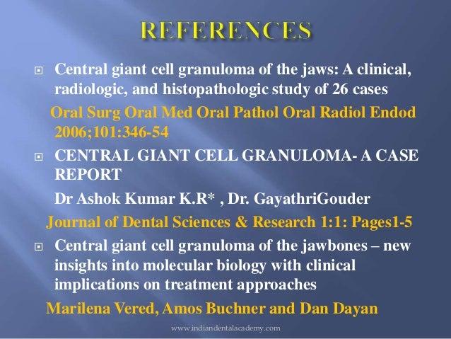central giant cell granuloma cgcg case study Central giant cell granuloma a case report .