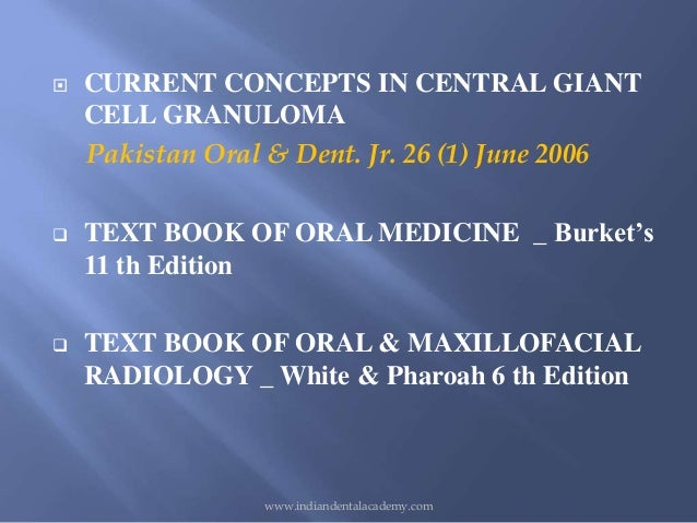 central giant cell granuloma cgcg case study Central giant cell granuloma (cgcg) investigative studies have been directed to the role corticosteroids for central giant cell granuloma: a case report.