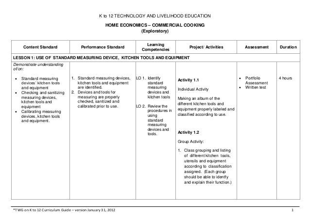 K to 12 TECHNOLOGY AND LIVELIHOOD EDUCATIONHOME ECONOMICS – COMMERCIAL COOKING(Exploratory)*TWG on K to 12 Curriculum Guid...