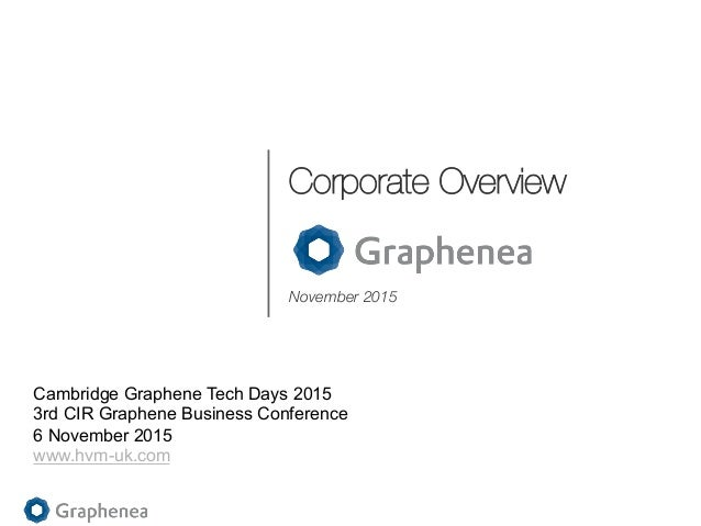 Corporate Overview November 2015 Cambridge Graphene Tech Days 2015 3rd CIR Graphene Business Conference 6 November 2015 ww...
