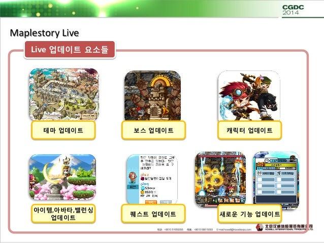 Maplestory Live 테마 ( 3개월 ) 보스 ( 2개월 ) 캐릭터 ( 4개월 ) 스킬 ( 상시 ) 아이템 ( 상시 ) 아바타 ( 상시 ) 밸런싱 ( 상시 ) 퀘스트 ( 상시 ) 네트웍 전용기능 ( 전략적 ) 업...
