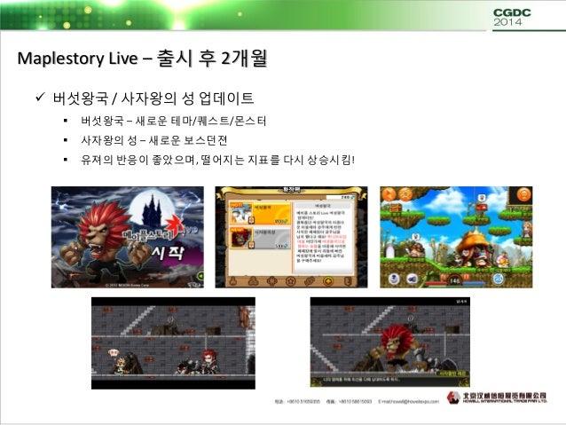 Maplestory Live – 출시 후 4개월  메카닉 캐릭터 업데이트  시나리오 / 퀘스트 / 아이템 / 테마맵 통합 업데이트!  사상 최고의 반응과 매출을 기록!  캐릭터 업데이트에 대한 유져의 니즈 확인!