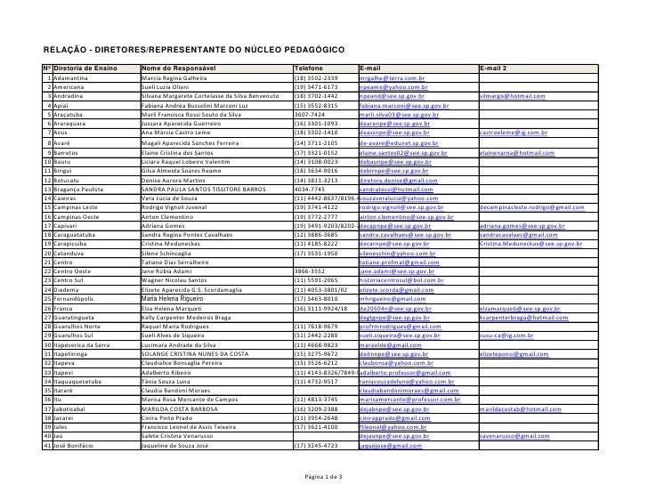 RELAÇÃO - DIRETORES/REPRESENTANTE DO NÚCLEO PEDAGÓGICONº   Diretoria de Ensino    Nome do Responsável                     ...