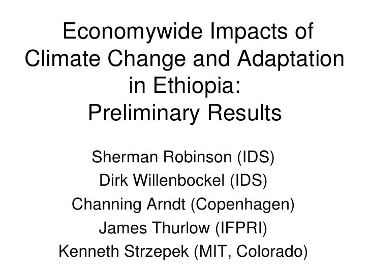 Economywide Impacts of Climate Change and Adaptation           in Ethiopia:       Preliminary Results       Sherman Robins...