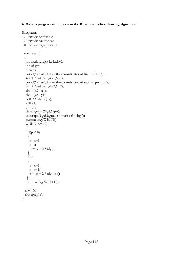 Bresenham Line Drawing Algorithm In Java : Computer graphics programes