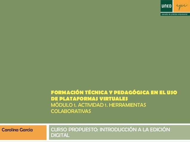 FORMACIÓN TÉCNICA Y PEDAGÓGICA EN EL USO DE PLATAFORMAS VIRTUALES MÓDULO 1. ACTIVIDAD 1. HERRAMIENTAS COLABORATIVAS CURSO ...