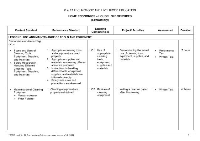 K to 12 TECHNOLOGY AND LIVELIHOOD EDUCATIONHOME ECONOMICS – HOUSEHOLD SERVICES(Exploratory)*TWG on K to 12 Curriculum Guid...