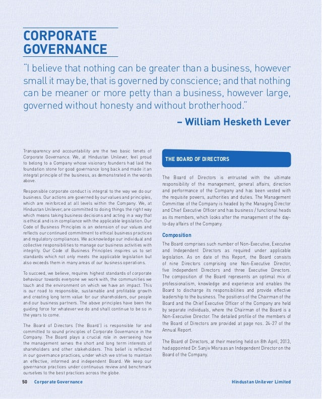 Corporate Governance50 Hindustan Unilever Limited Transparency and accountability are the two basic tenets of Corporate Go...