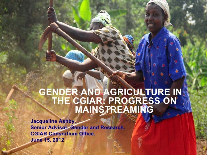 GENDER AND AGRICULTURE IN     THE CGIAR: PROGRESS ON         MAINSTREAMINGJacqueline Ashby,Senior Advisor, Gender and Rese...