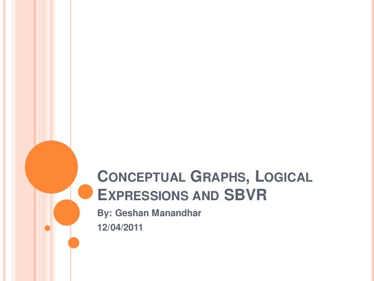 Conceptual Graphs, Logical Expressions and SBVR<br />By: GeshanManandhar<br />12/04/2011<br />