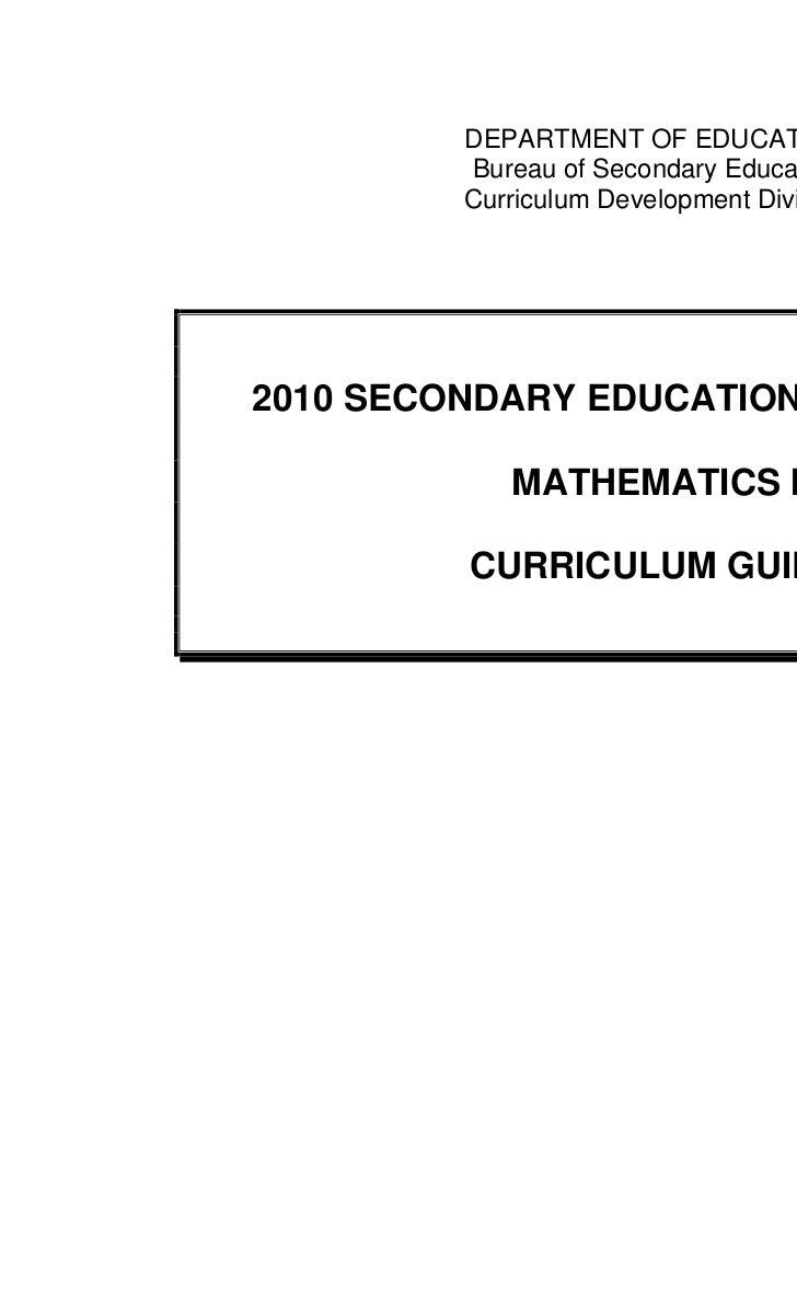 DEPARTMENT OF EDUCATION         Bureau of Secondary Education         Curriculum Development Division2010 SECONDARY EDUCAT...