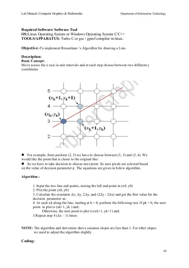 Bresenham Line Drawing Algorithm Description : Cgm lab manual