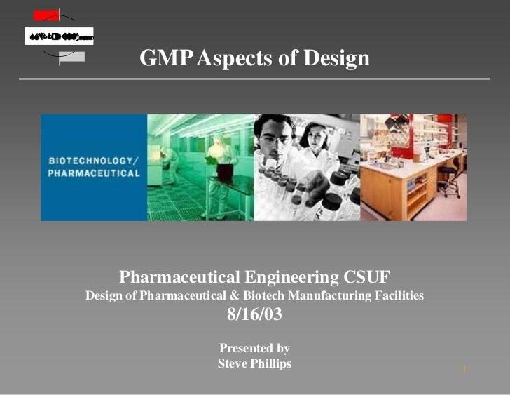                                            GMP Aspects of Design                 Pharmaceutica...