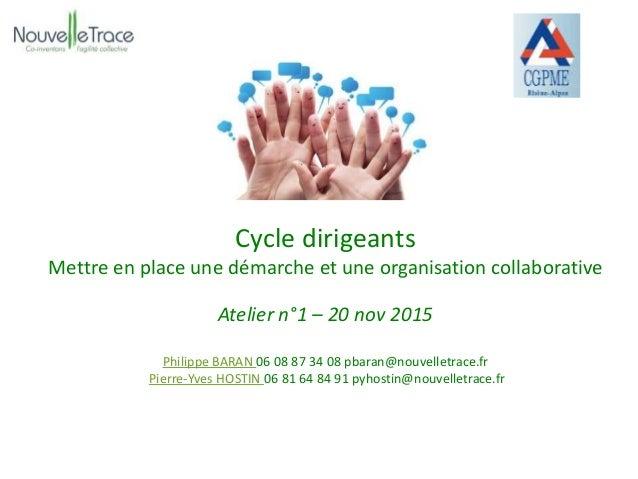 Cycle dirigeants Mettre en place une démarche et une organisation collaborative Atelier n°1 – 20 nov 2015 Philippe BARAN 0...