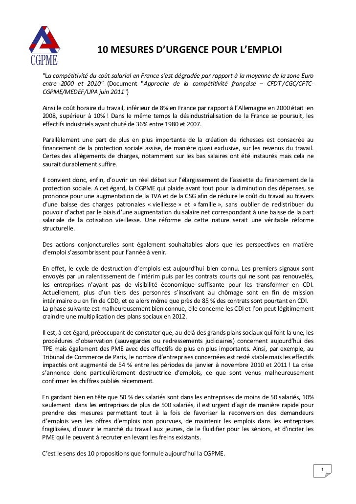 """10 MESURES D'URGENCE POUR L'EMPLOI""""La compétitivité du coût salarial en France s'est dégradée par rapport à la moyenne de ..."""