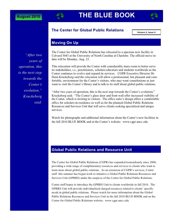 August 2010                              THE BLUE BOOK                     The Center for Global Public Relations         ...