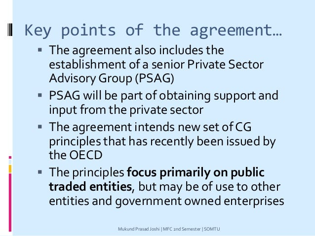 Key points of the agreement…  The agreement also includes the establishment of a senior Private Sector Advisory Group (PS...