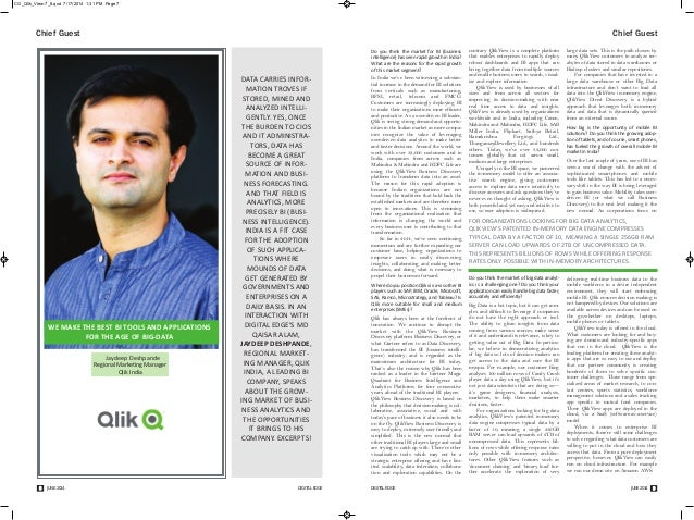 CG_Qlik_View:7_8.qxd 7/17/2014 1:31 PM Page 7  Chief Guest Chief Guest  contrary QlikView is a complete platform  that ena...