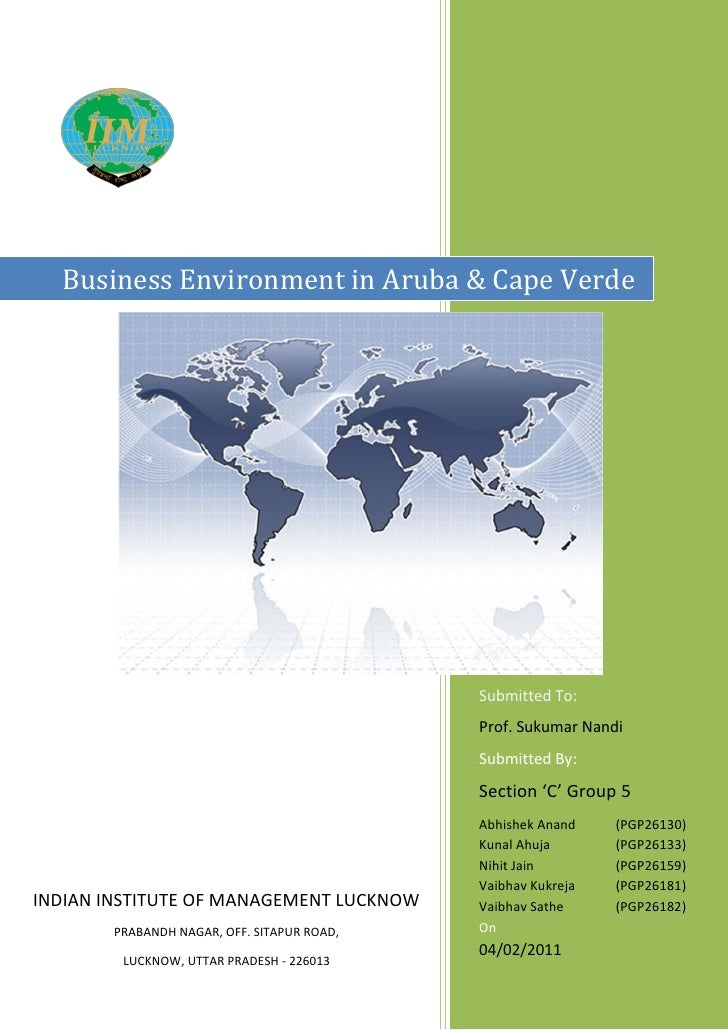 Business Environment in Aruba & Cape Verde                                            Submitted To:                       ...