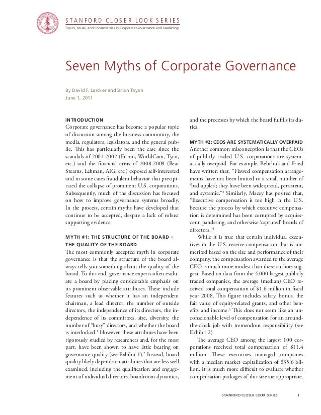 Topics, Issues, and Controversies in Corporate Governance and Leadership S T A N F O R D C L O S E R L O O K S E R I E S s...