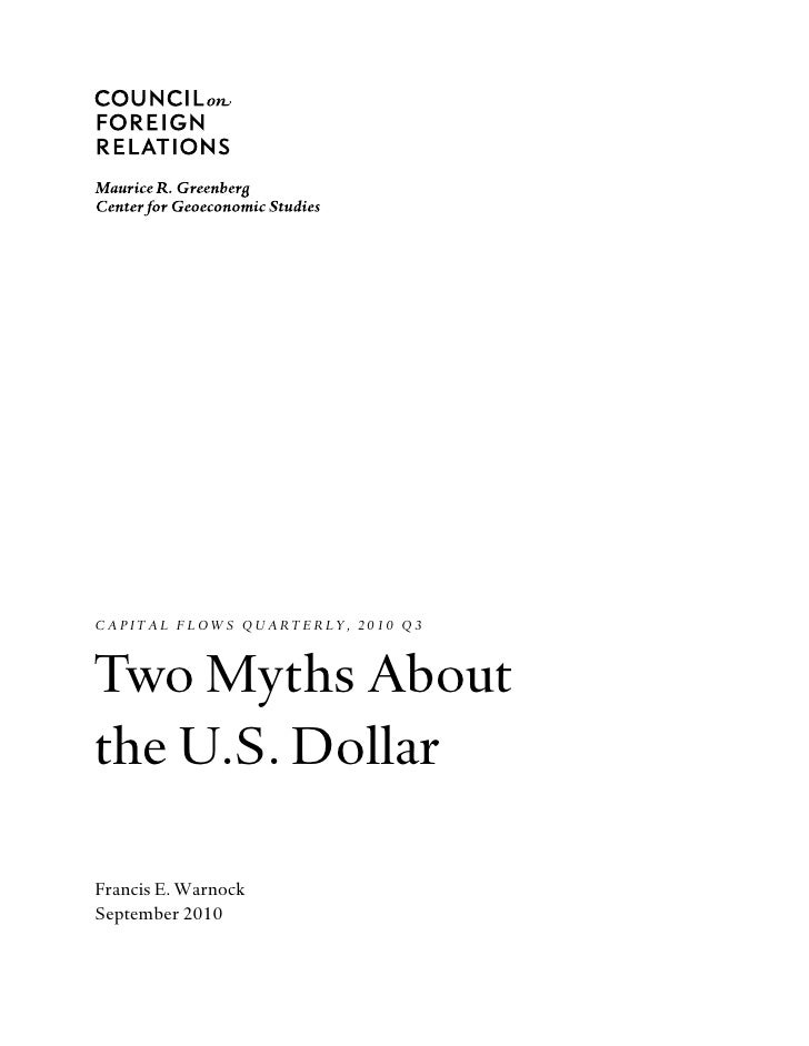 Two myths about the Dollar