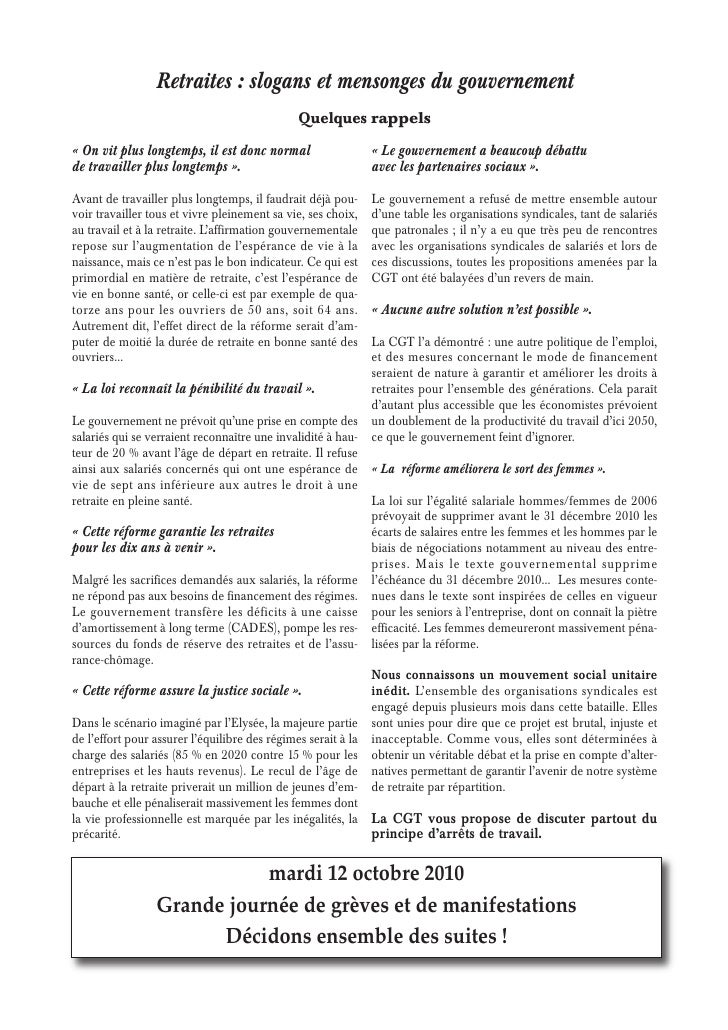 Tract cgt adresse retraites - Table esperance de vie viager ...