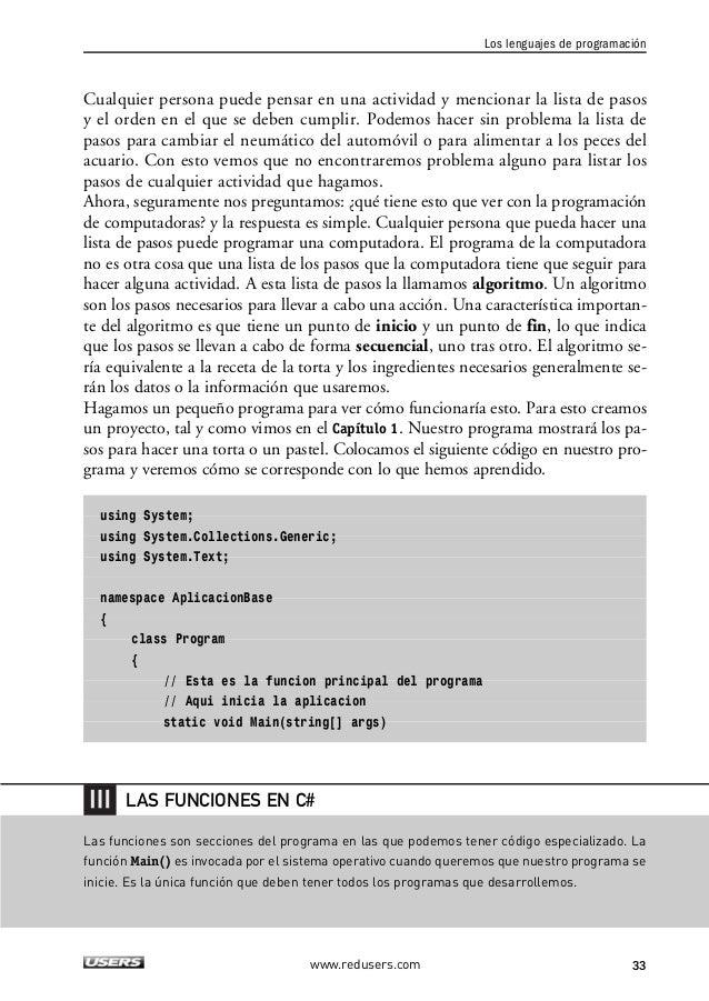 """2. LOS ELEMENTOS BÁSICOS DE UN PROGRAMA  {  Console.WriteLine(""""1- Precalentar el horno"""");  Console.WriteLine(""""2- Batir mar..."""