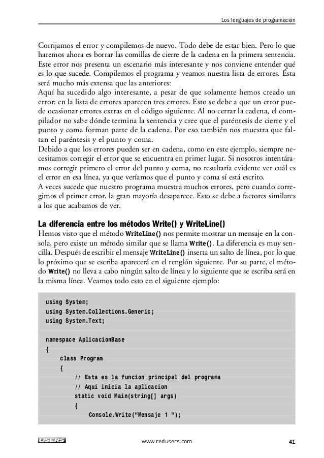 """2. LOS ELEMENTOS BÁSICOS DE UN PROGRAMA  Console.Write(""""Mensaje 2 """");  Console.WriteLine(""""Mensaje 3 """");  Console.WriteLine..."""
