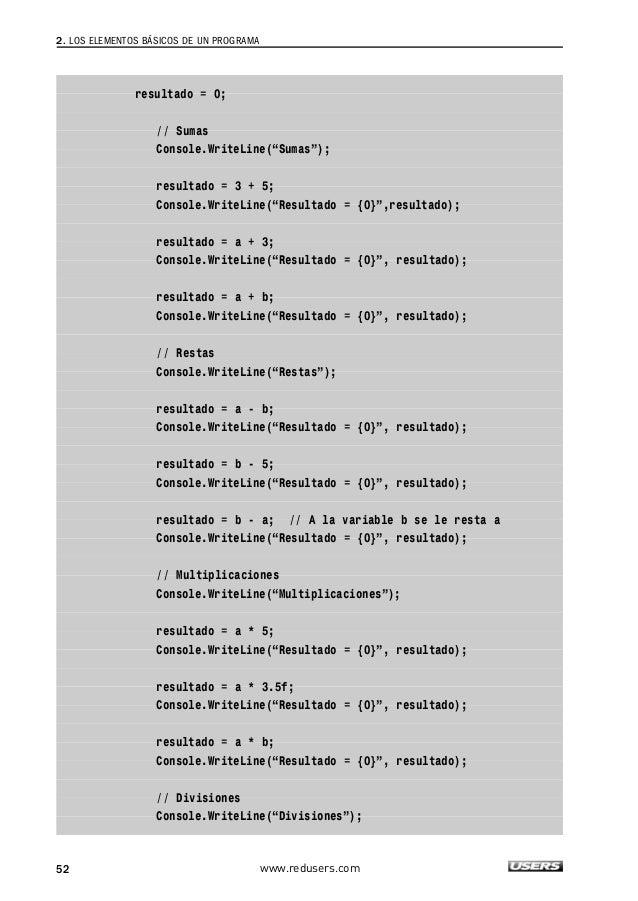 """Los lenguajes de programación  resultado = a / 3;  Console.WriteLine(""""Resultado = {0}"""", resultado);  resultado = a / b;  C..."""