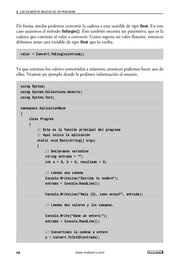 """Los lenguajes de programación  Console.Write(""""Dame otro numero entero:"""");  entrada = Console.ReadLine();  // Convertimos l..."""