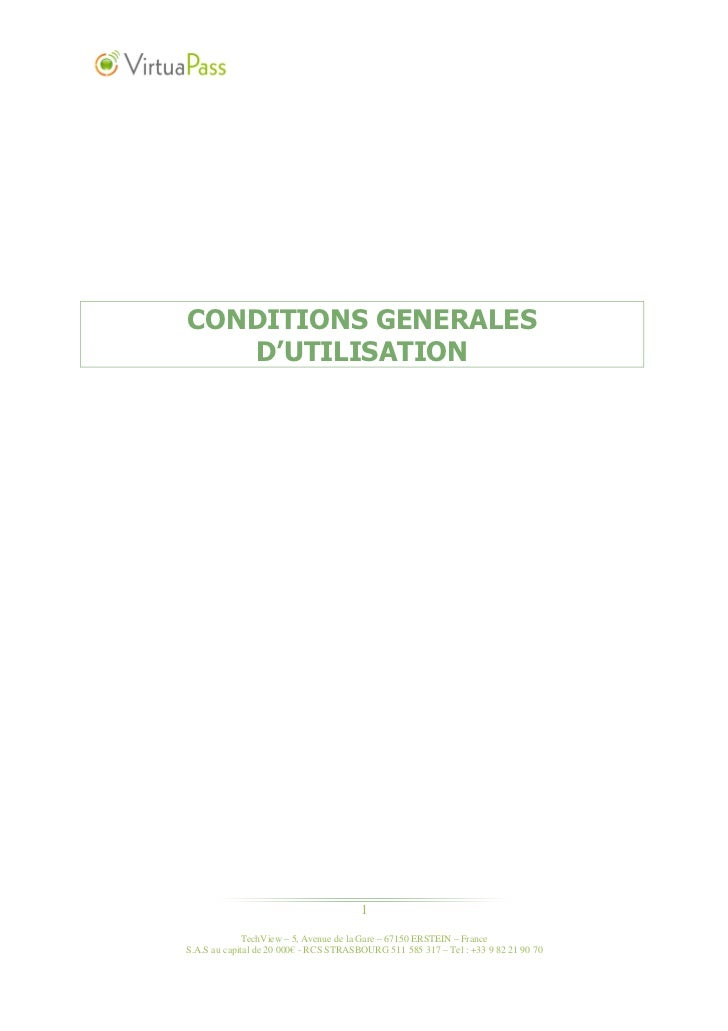 CONDITIONS GENERALES   D'UTILISATION                                        1              TechView – 5, Avenue de la Gare...