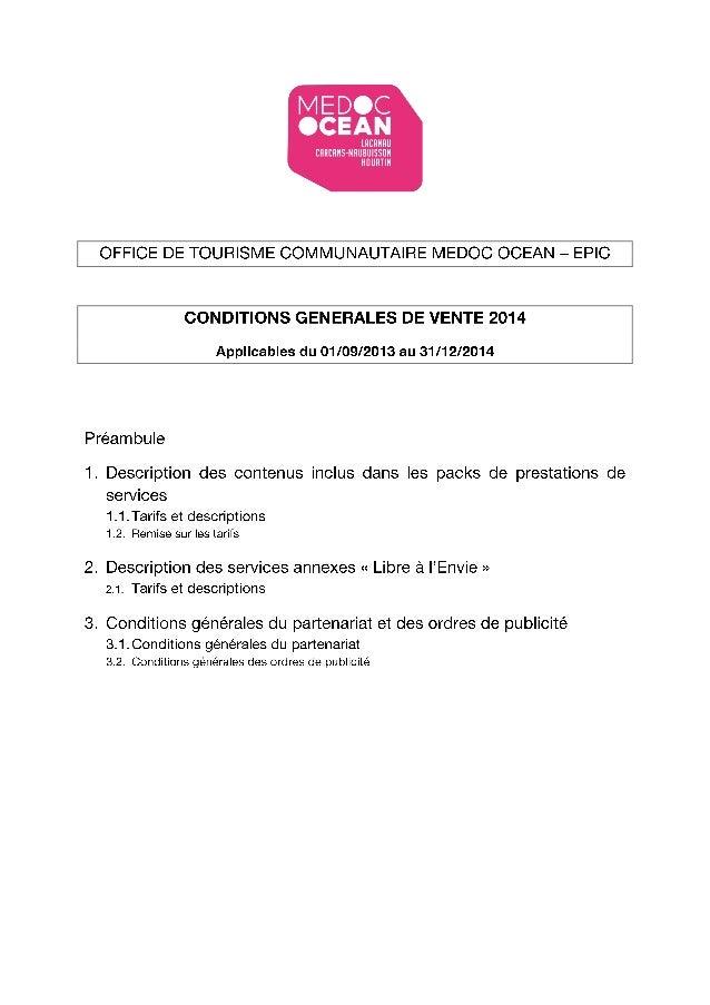 Conditions Générales de Vente Médoc Océan 2014