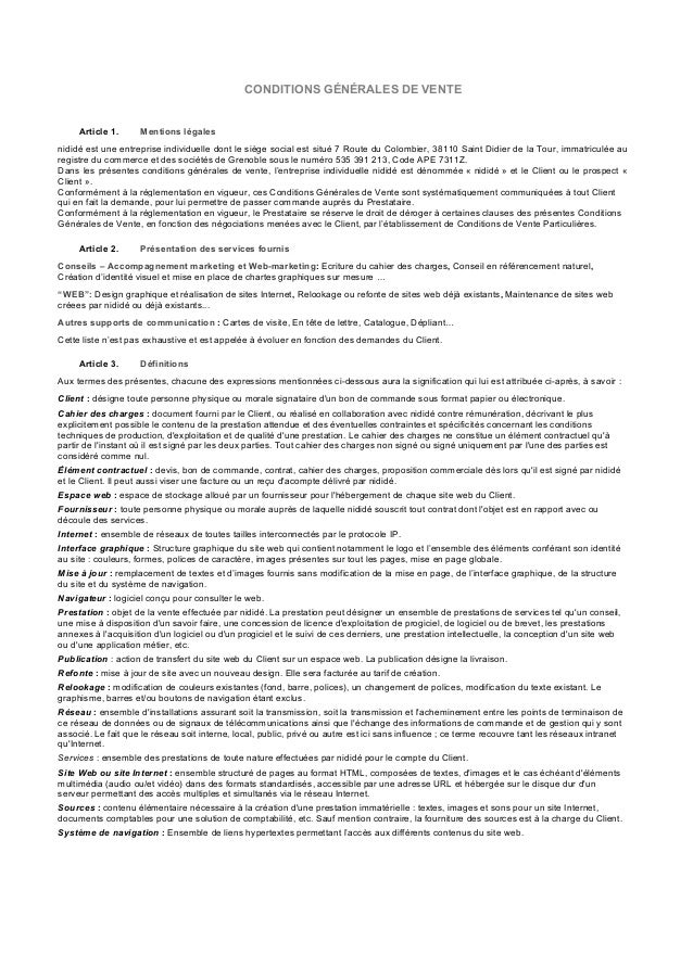 CONDITIONS GÉNÉRALES DE VENTE Article 1. Mentions légales nididé est une entreprise individuelle dont le siège social est ...