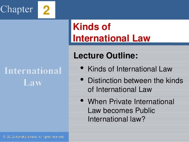public international law 2012fall outline According to intl law, it is irrelevant whether domestic law has been violated or whether a country is bound by domestic law the party is still bound by intl law ct does say that there was a legal obligation btwn the coutnires and that good faith was enough to create a norm.