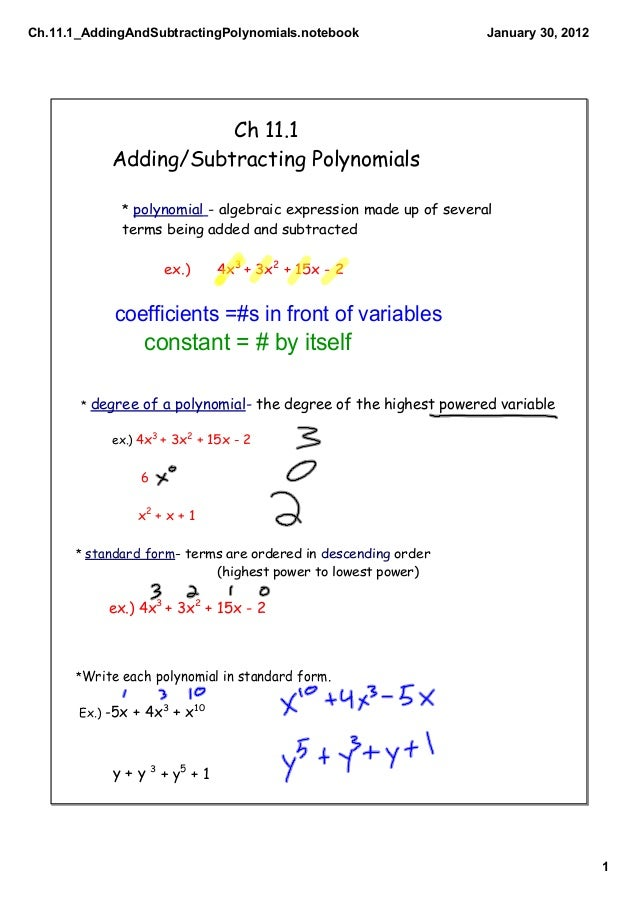 Ch111 Adding And Subtracting Polynomials