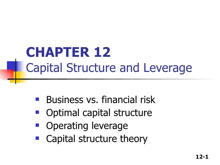 CHAPTER 12 Capital Structure and Leverage <ul><li>Business vs. financial risk </li></ul><ul><li>Optimal capital structure ...