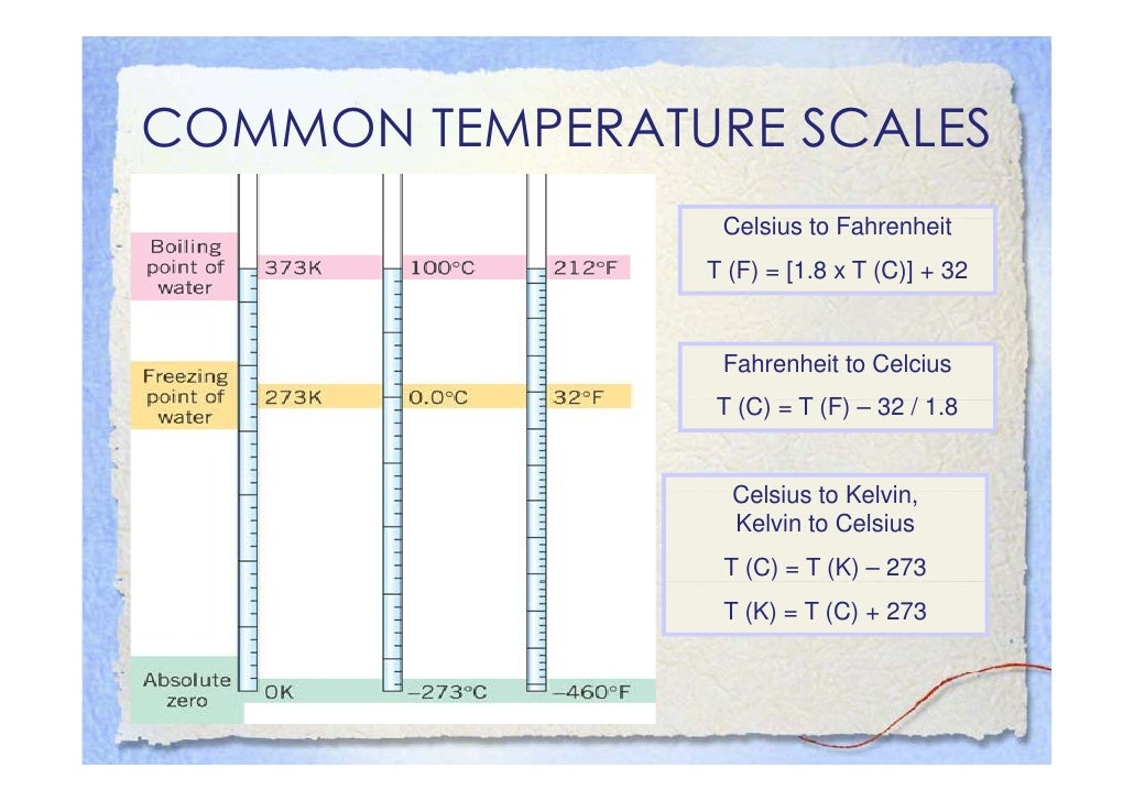 COMMON TEMPERATURE SCALES                  Celsius to Fahrenheit                  C l i t F h h it                 T (F) =...